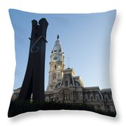 The Clothes Pin Statue And City Hall - Philadelphia Throw Pillow