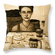 The Coffee Addict In Sepia Throw Pillow