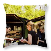The Coffee Cart Throw Pillow