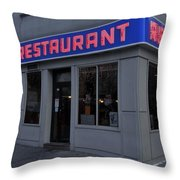 The Coffee Shop Throw Pillow by Benjamin Yeager