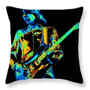 The Colorful Sound Of Mick Playing Guitar Throw Pillow
