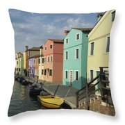 The Colors Of Burano Throw Pillow
