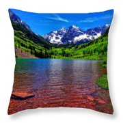 The Colors Of Maroon Bells In Summer Throw Pillow