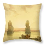 The Colossi Of Memnon Throw Pillow by David Roberts