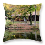 The Commissioners Cabin In Autumn Throw Pillow