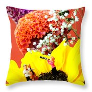 The Concert In The Flower Miniature Art Throw Pillow by Paul Ge