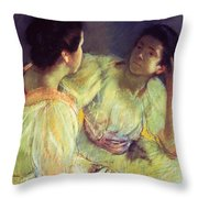 The Conversation Throw Pillow by Mary Stevenson Cassatt