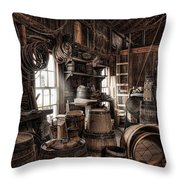 The Coopers Shop - 19th Century Workshop Throw Pillow