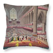 The Coronation Of King William Iv And Queen Adelaide, 1831 Colour Litho Throw Pillow