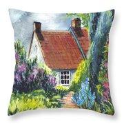 The Cottage Garden Path Throw Pillow