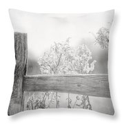 The Country Fence In Black And White Throw Pillow