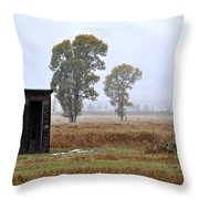The Country Outhouse Throw Pillow