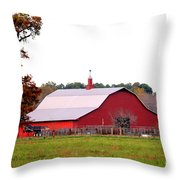 The Country Red Barn Throw Pillow