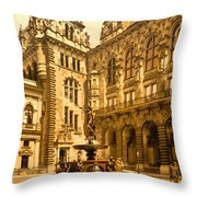 The Court House-hamburg-germany - Between 1890 And 1900 Throw Pillow