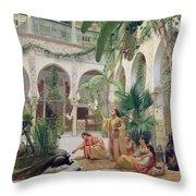 The Court Of The Harem Throw Pillow by Albert Girard
