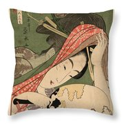 The Courtesan Tsukasa From The Ogiya House Tanabata. Star Festival  Throw Pillow
