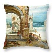 The Courtyard Of A Renaissance Palace Throw Pillow