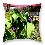 The  Red Cover Bridge Or Wertz's Cover Bridge Throw Pillow