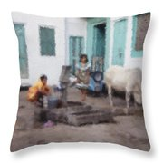 The Cow In The Yard Throw Pillow