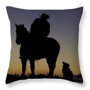 The Cowboy And His Dog Throw Pillow by Carol Walker
