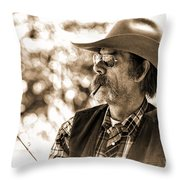 The Cowboy Angler Throw Pillow