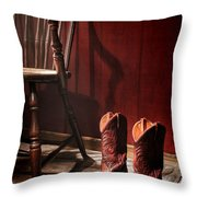 The Cowgirl Boots And The Old Chair Throw Pillow