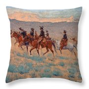 The Cowpunchers Throw Pillow by Frederic Remington