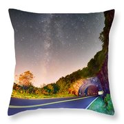 The Craggy Pinnacle Tunnel On The Blue Ridge Parkway  Throw Pillow