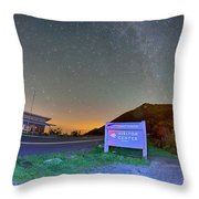 The Craggy Pinnacle Visitors Center At Night Throw Pillow
