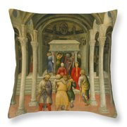 The Crippled And Sick Cured At The Tomb Of Saint Nicholas Throw Pillow by Gentile da Fabriano