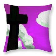 The Cross On Purple Throw Pillow