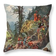 The Crossing Of The Alps, Illustration Throw Pillow