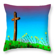 The Crossn The Field Throw Pillow