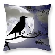 The Crow And Moon Throw Pillow