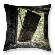 The Crowd Gathers Outside - Abandoned Apple Barn Throw Pillow by Gary Heller