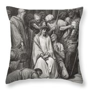 The Crown Of Thorns Throw Pillow by Gustave Dore