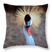 The Crowned Crane Throw Pillow