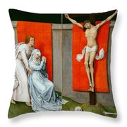 The Crucifixion With The Virgin And Saint John The Evangelist Mourning Throw Pillow