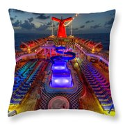 The Cruise Lights At Night Throw Pillow