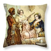 The Cup Of Coffee Two Women Taking Throw Pillow by Amadeo Preziosi