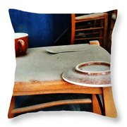 The Cup Saucer And Spoon Throw Pillow