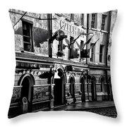 The Czech Inn - Dublin Ireland In Black And White Throw Pillow