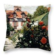 The Dahlias Garden At Petit Gennevilliers Throw Pillow