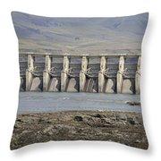 The Dalles Dam Along Columbia River Throw Pillow