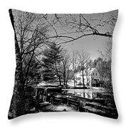 The Dam At Chocorua In Winter Throw Pillow
