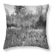 The Dance Of The Cattails Bw Throw Pillow
