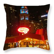 The Daniels And  Fisher Tower At Night Throw Pillow