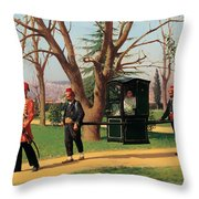 The Daughter Of The English Ambassador Riding In A Palanquin Throw Pillow