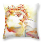 The David By Michelangelo. Tribute Throw Pillow