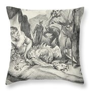 The Death Of Beowulf Throw Pillow